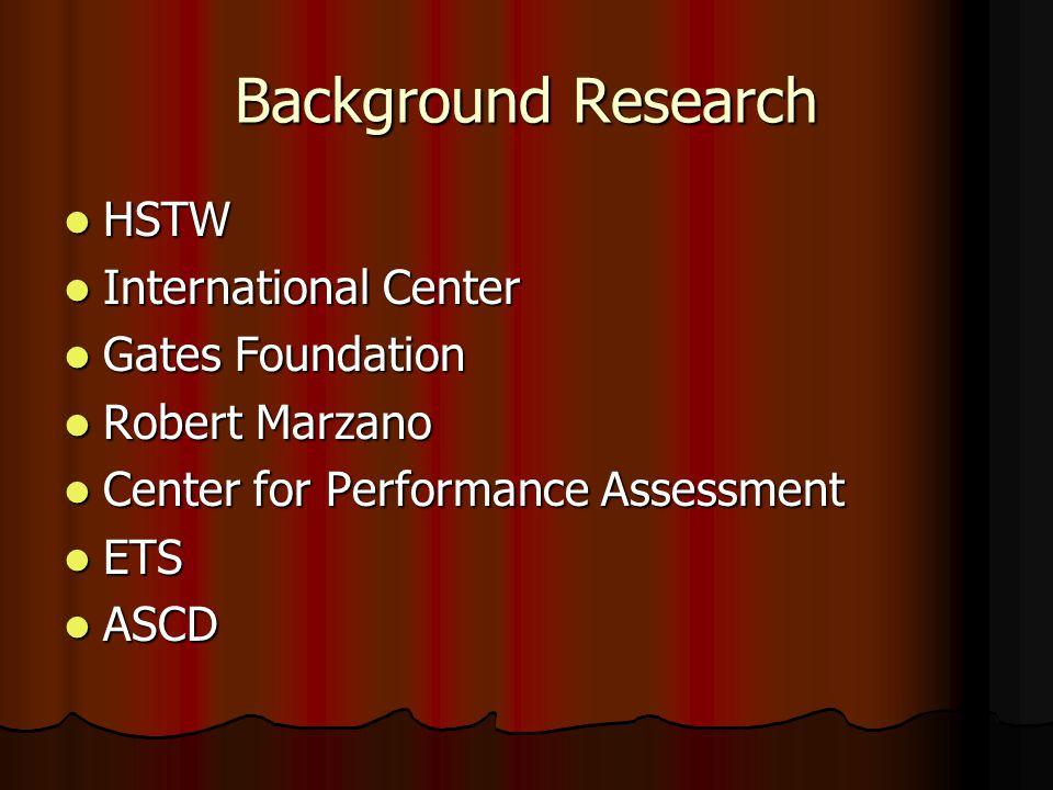 Background Research HSTW HSTW International Center International Center Gates Foundation Gates Foundation Robert Marzano Robert Marzano Center for Performance Assessment Center for Performance Assessment ETS ETS ASCD ASCD