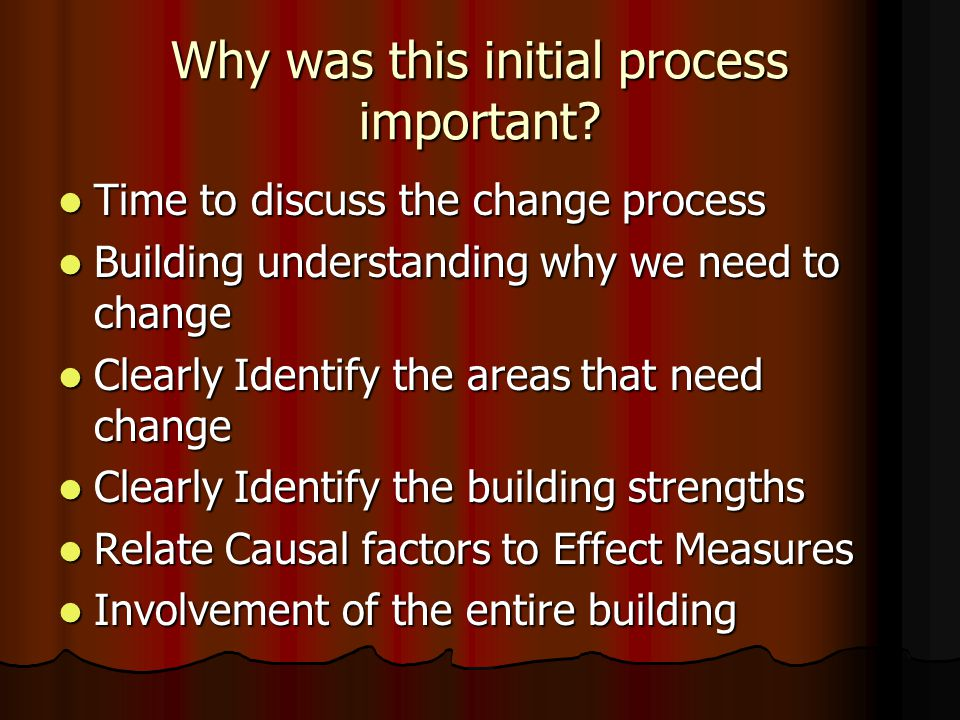 Why was this initial process important? Time to discuss the change process Time to discuss the change process Building understanding why we need to ch