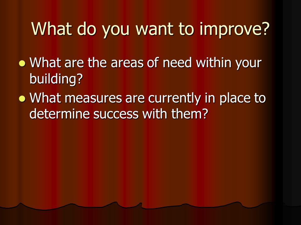 What do you want to improve? What are the areas of need within your building? What are the areas of need within your building? What measures are curre