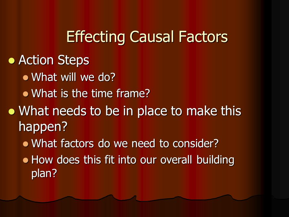 Effecting Causal Factors Effecting Causal Factors Action Steps Action Steps What will we do? What will we do? What is the time frame? What is the time