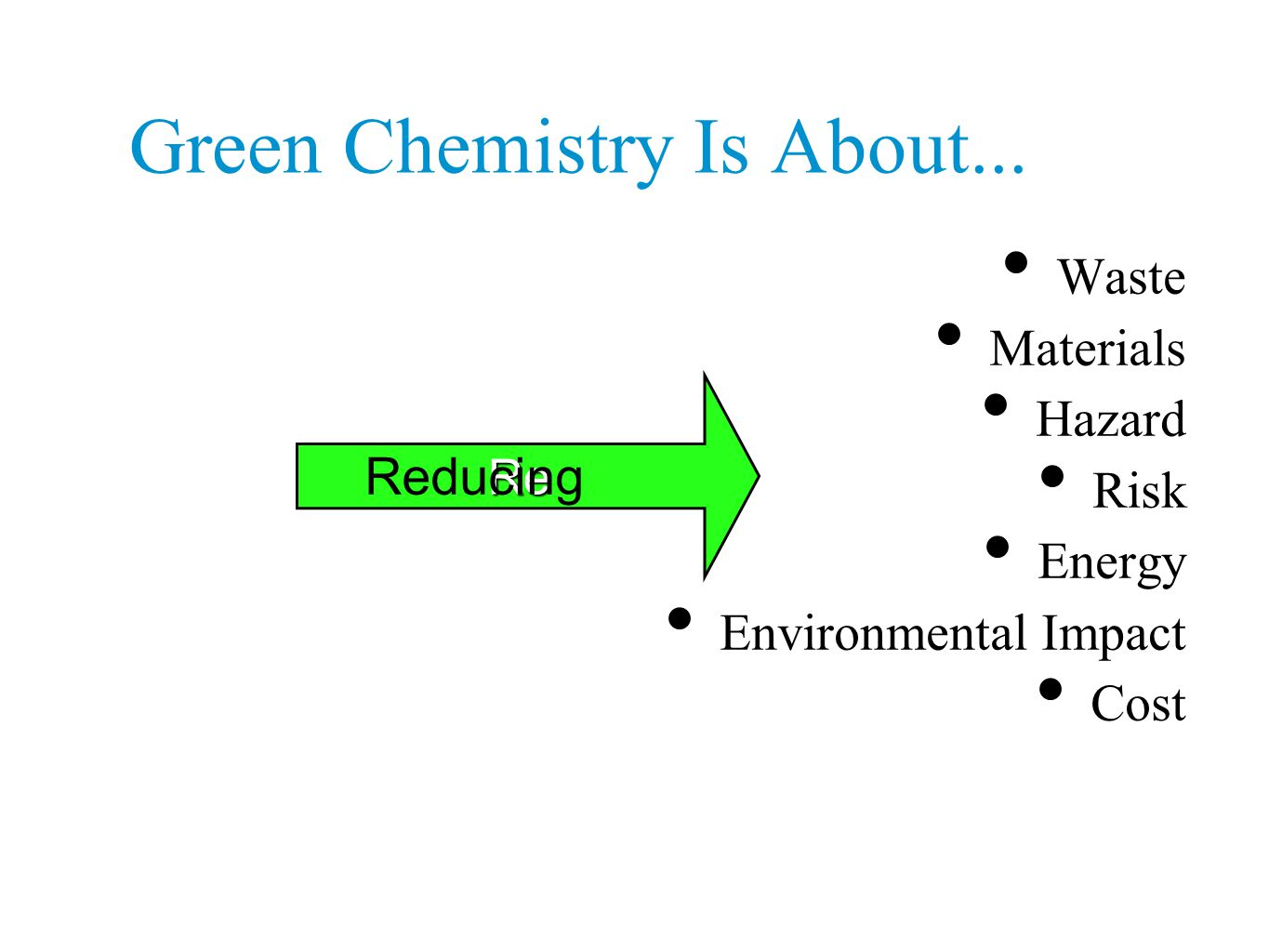 Green Chemistry Is About... Waste Materials Hazard Risk Energy Environmental Impact Cost Re Reducing