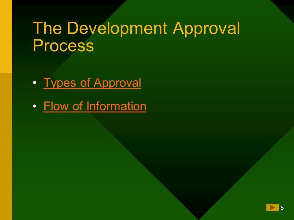 5 The Development Approval Process Types of Approval Flow of Information