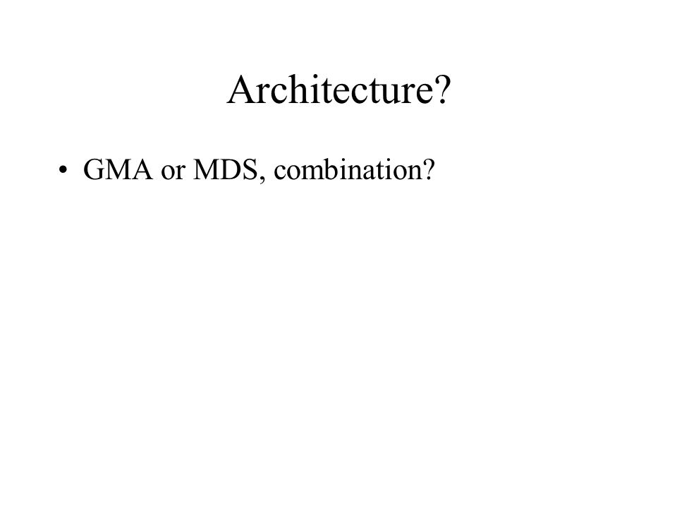 Architecture GMA or MDS, combination