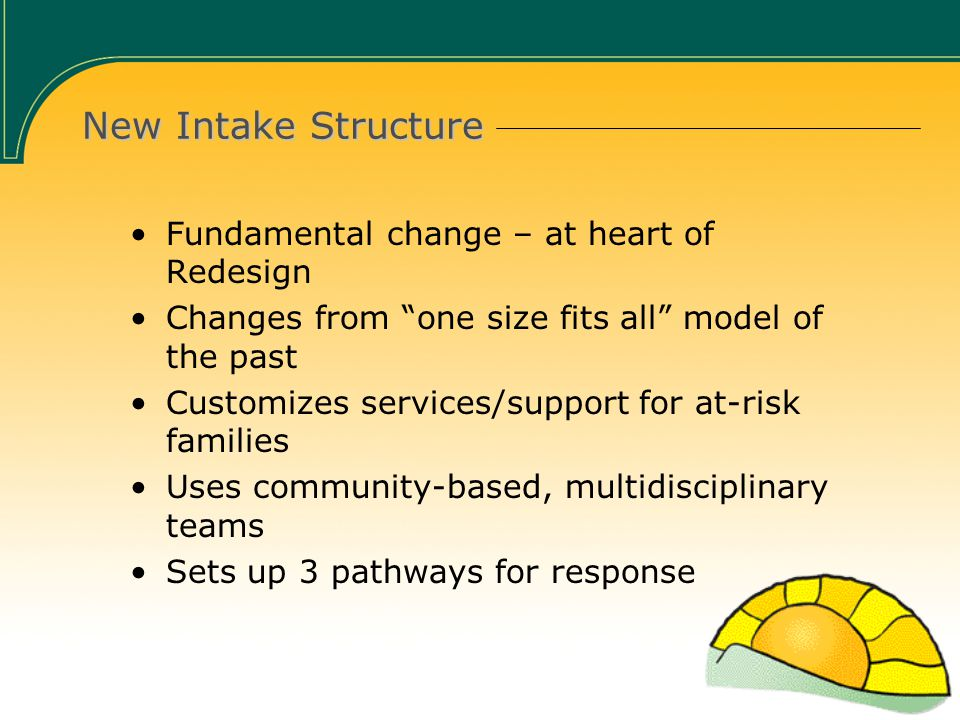 New Intake Structure Fundamental change – at heart of Redesign Changes from one size fits all model of the past Customizes services/support for at-risk families Uses community-based, multidisciplinary teams Sets up 3 pathways for response