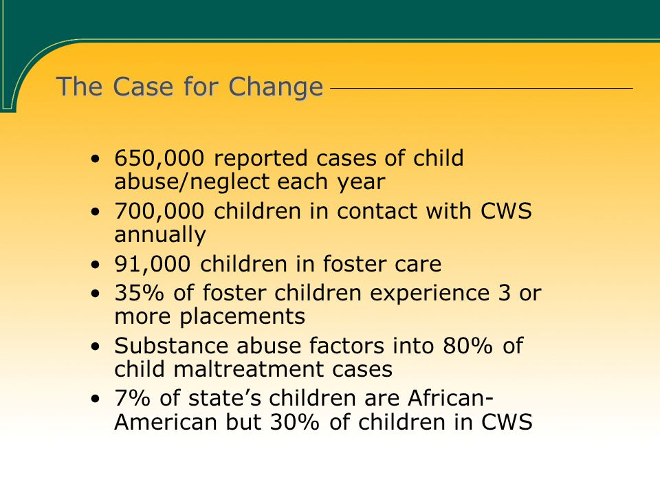 The Case for Change 650,000 reported cases of child abuse/neglect each year 700,000 children in contact with CWS annually 91,000 children in foster care 35% of foster children experience 3 or more placements Substance abuse factors into 80% of child maltreatment cases 7% of state's children are African- American but 30% of children in CWS