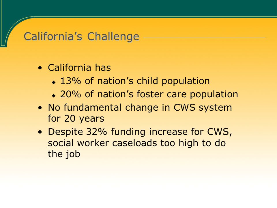 California's Challenge California has  13% of nation's child population  20% of nation's foster care population No fundamental change in CWS system for 20 years Despite 32% funding increase for CWS, social worker caseloads too high to do the job