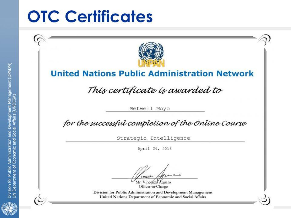 OTC Certificates