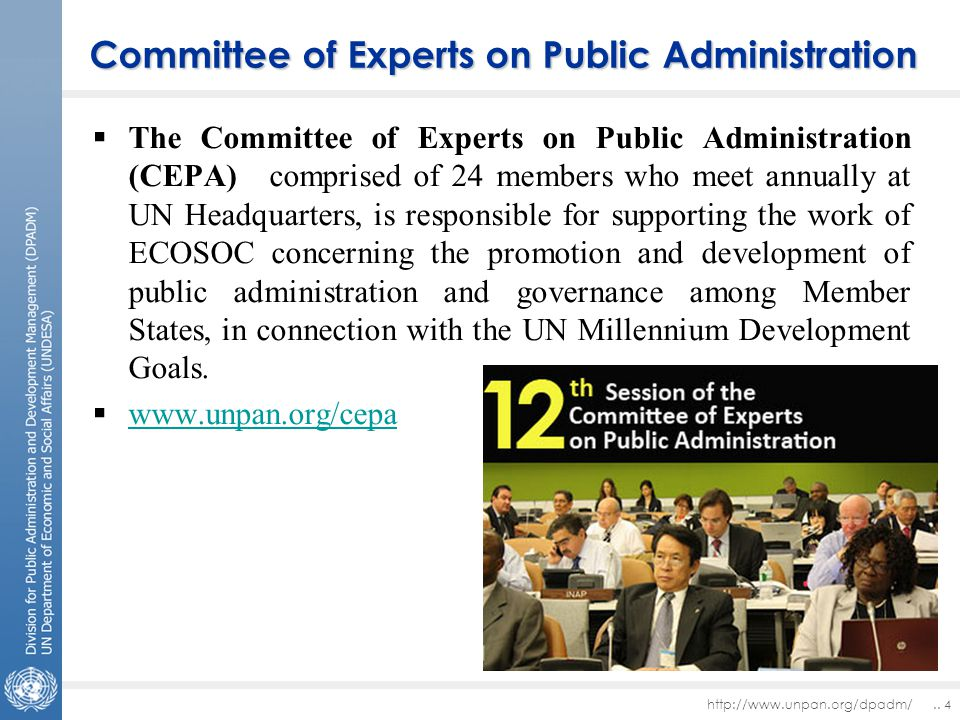 Committee of Experts on Public Administration  The Committee of Experts on Public Administration (CEPA) comprised of 24 members who meet annually at UN Headquarters, is responsible for supporting the work of ECOSOC concerning the promotion and development of public administration and governance among Member States, in connection with the UN Millennium Development Goals.