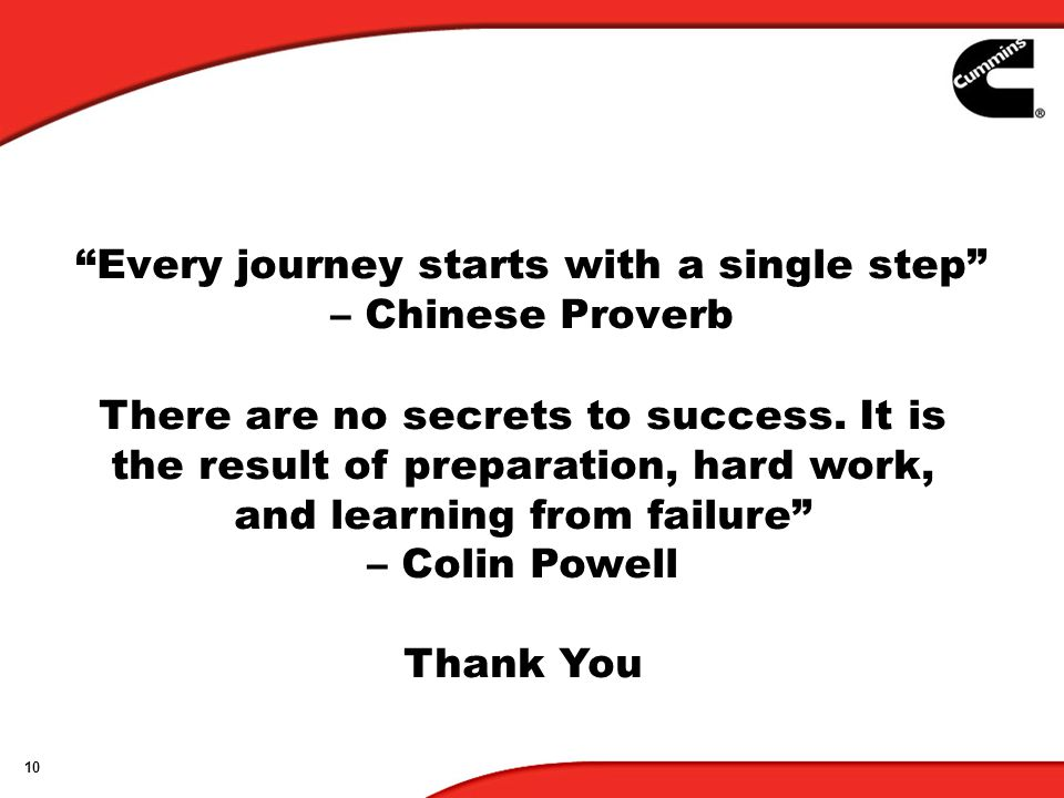 10 Every journey starts with a single step – Chinese Proverb There are no secrets to success.