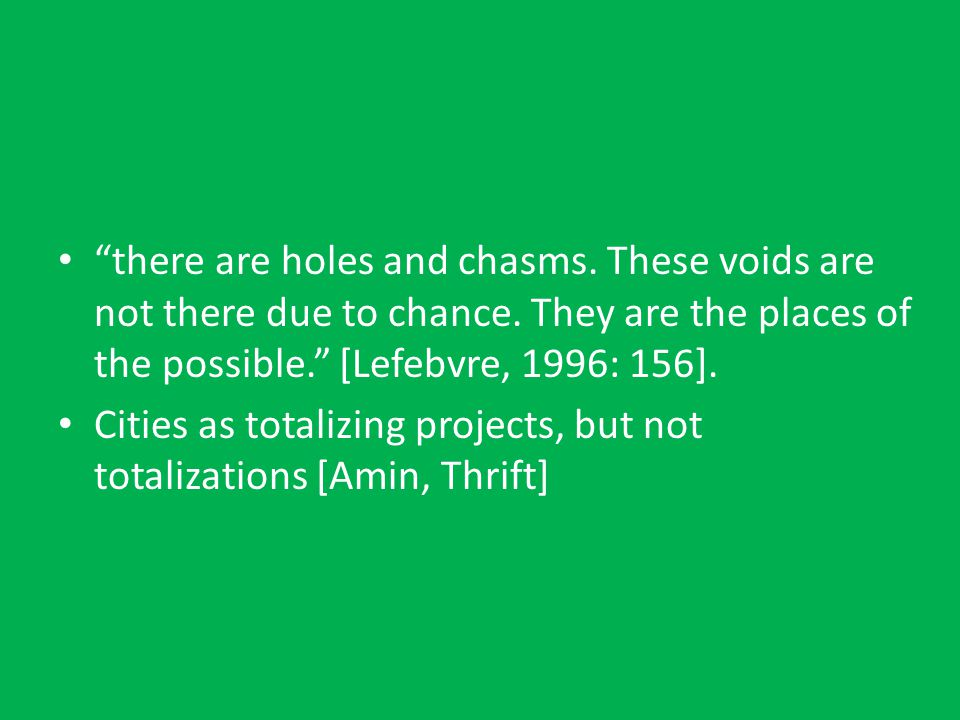 there are holes and chasms. These voids are not there due to chance.