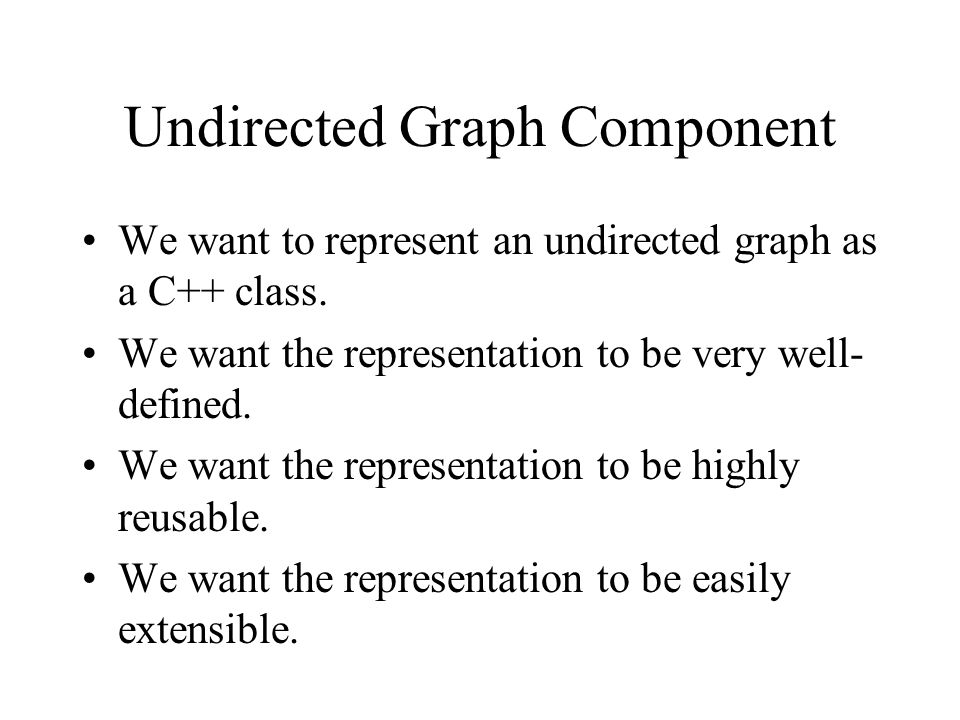 Undirected Graph Component We want to represent an undirected graph as a C++ class. We want the representation to be very well- defined. We want the r