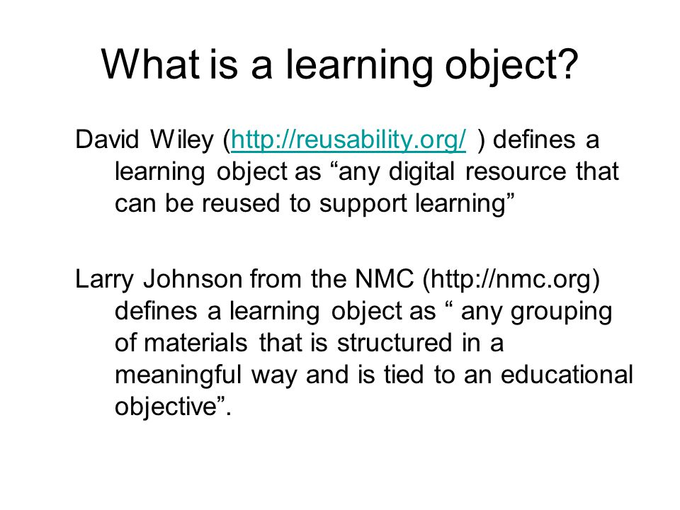 What is a learning object.