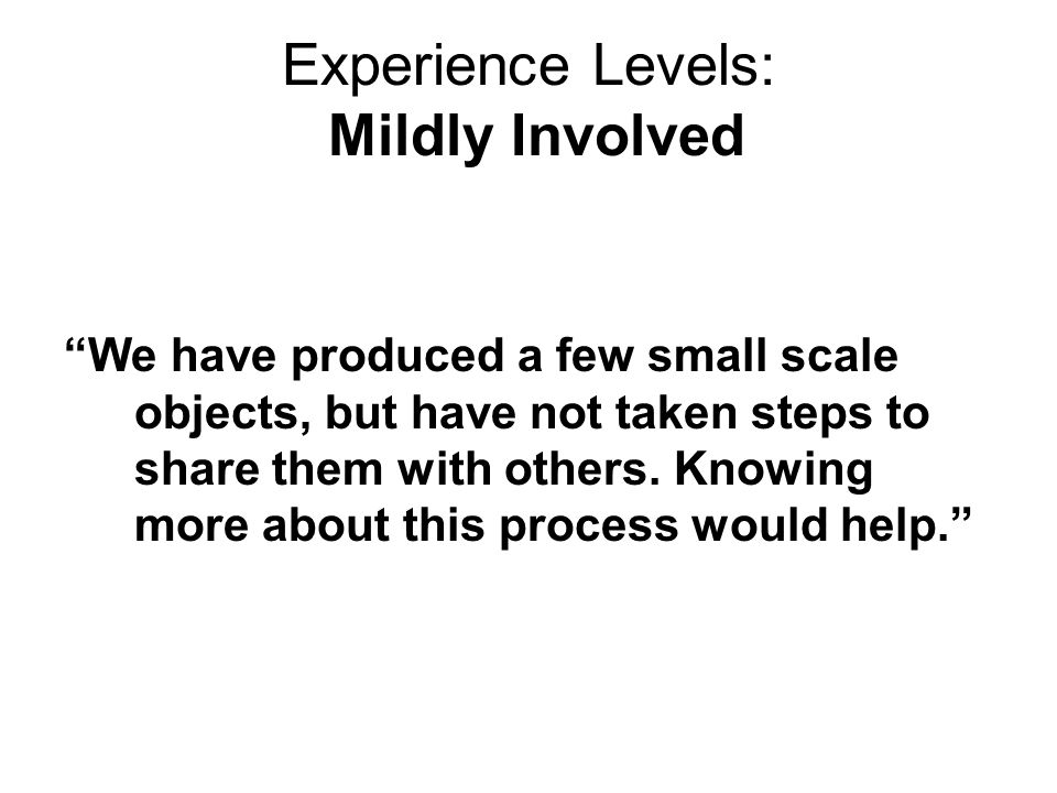 Experience Levels: Very Involved Currently, we are mostly focused on figuring out ways to curate, archive, and retrieve the sorts of digital and rich media objects that faculty and students produce in and as their day-to-day educational or professional work product (the e-portfolio idea).