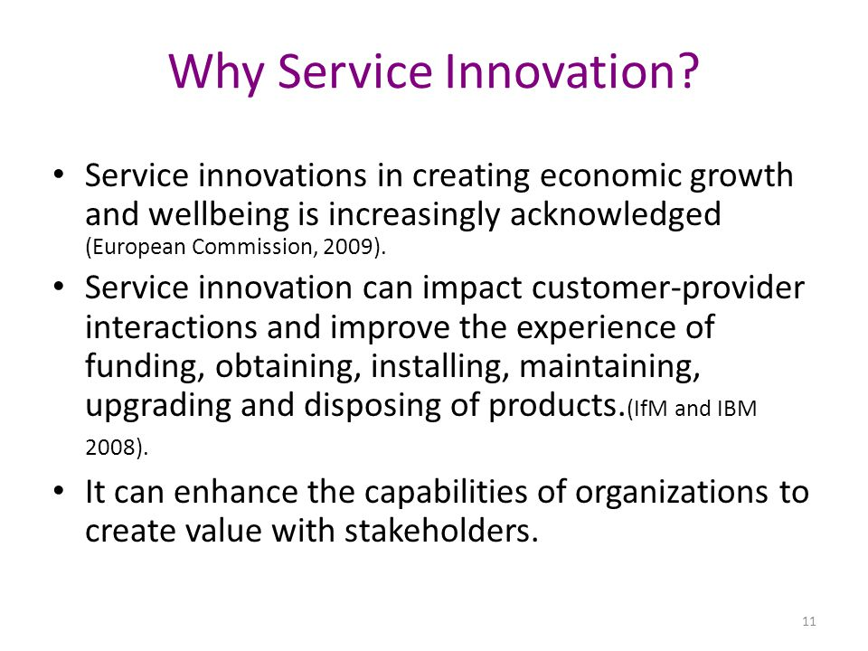Why Service Innovation.