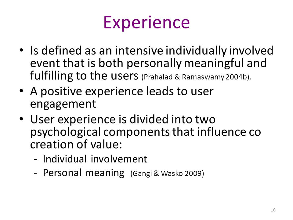 Experience Is defined as an intensive individually involved event that is both personally meaningful and fulfilling to the users (Prahalad & Ramaswamy 2004b).