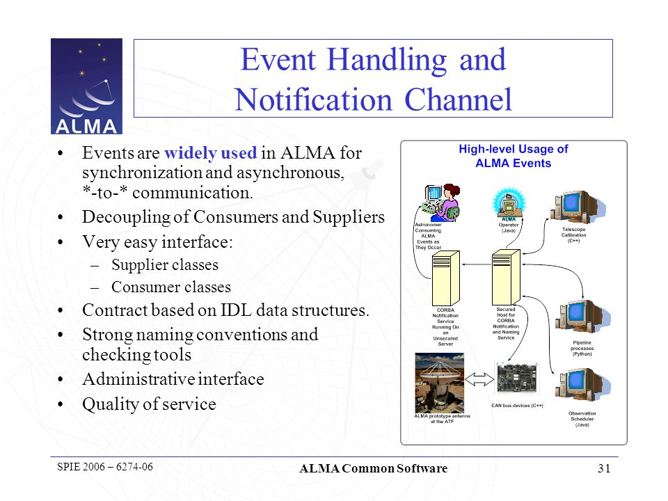 31 SPIE 2006 – 6274-06 ALMA Common Software Event Handling and Notification Channel Events are widely used in ALMA for synchronization and asynchronous, *-to-* communication.