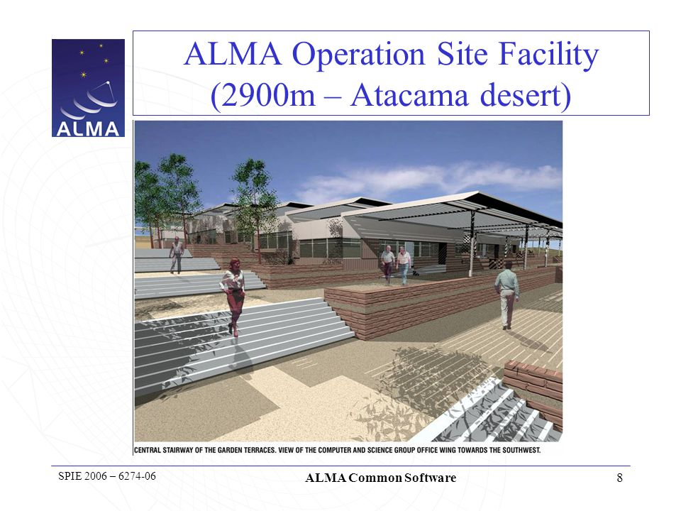 8 SPIE 2006 – 6274-06 ALMA Common Software ALMA Operation Site Facility (2900m – Atacama desert)