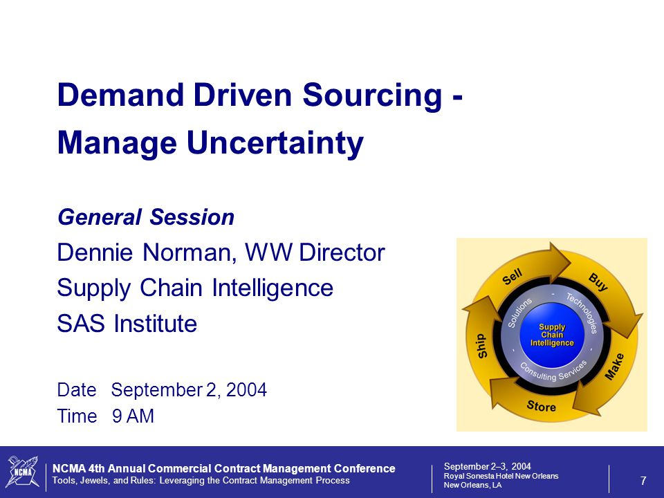 September 2–3, 2004 Royal Sonesta Hotel New Orleans New Orleans, LA NCMA 4th Annual Commercial Contract Management Conference Tools, Jewels, and Rules: Leveraging the Contract Management Process 7 General Session Dennie Norman, WW Director Supply Chain Intelligence SAS Institute Date September 2, 2004 Time 9 AM Demand Driven Sourcing - Manage Uncertainty