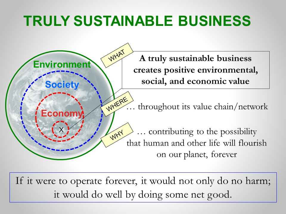 TRULY SUSTAINABLE BUSINESS Economy Society Environment If it were to operate forever, it would not only do no harm; it would do well by doing some net