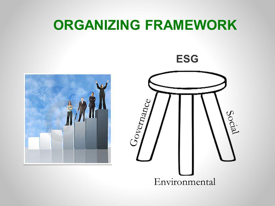 ORGANIZING FRAMEWORK ESG Governance Environmental Social