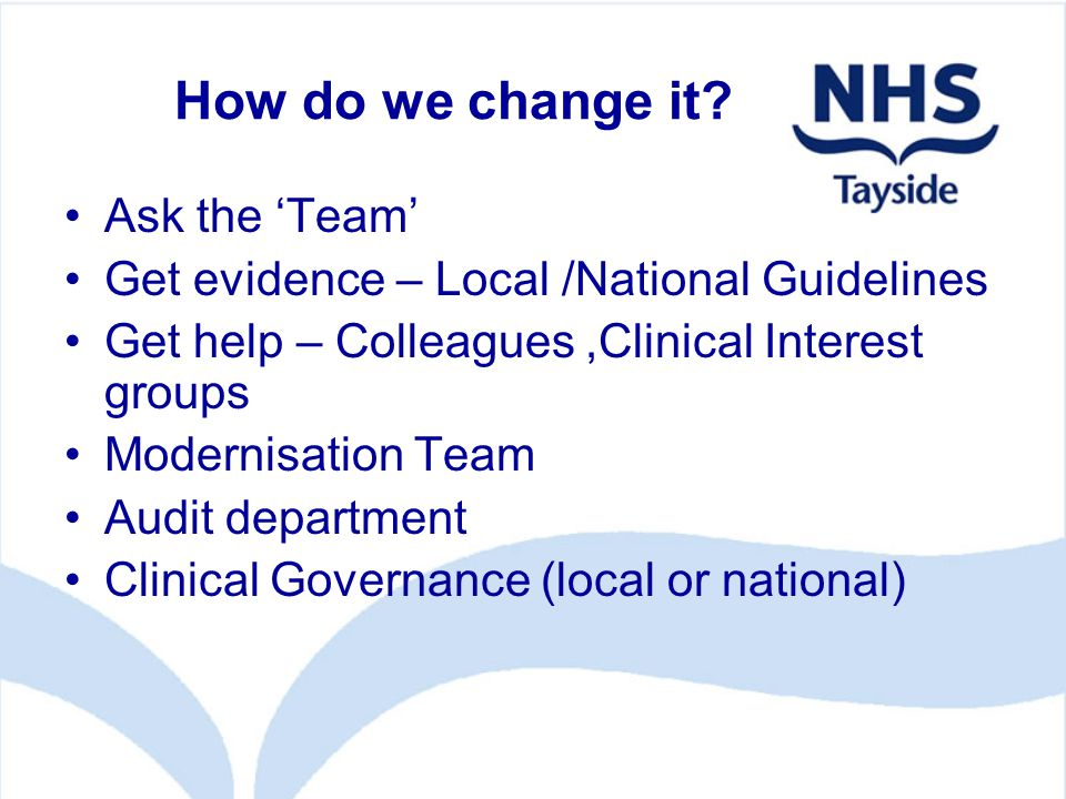 How do we change it? Ask the 'Team' Get evidence – Local /National Guidelines Get help – Colleagues,Clinical Interest groups Modernisation Team Audit