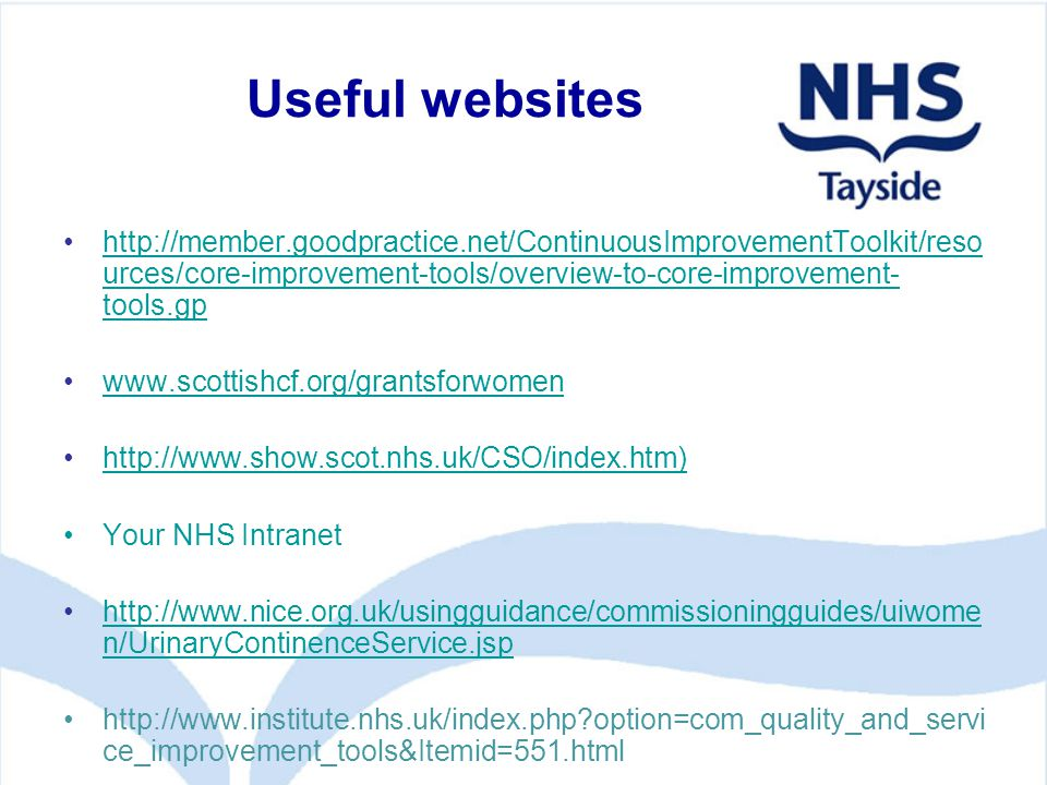 Useful websites http://member.goodpractice.net/ContinuousImprovementToolkit/reso urces/core-improvement-tools/overview-to-core-improvement- tools.gphttp://member.goodpractice.net/ContinuousImprovementToolkit/reso urces/core-improvement-tools/overview-to-core-improvement- tools.gp www.scottishcf.org/grantsforwomen http://www.show.scot.nhs.uk/CSO/index.htm) Your NHS Intranet http://www.nice.org.uk/usingguidance/commissioningguides/uiwome n/UrinaryContinenceService.jsphttp://www.nice.org.uk/usingguidance/commissioningguides/uiwome n/UrinaryContinenceService.jsp http://www.institute.nhs.uk/index.php option=com_quality_and_servi ce_improvement_tools&Itemid=551.html