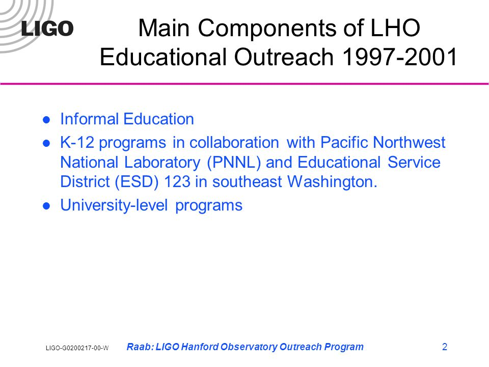 LIGO-G0200217-00-W Raab: LIGO Hanford Observatory Outreach Program13 Effect of NSF Proposal Downsizing on Observatories FY2002 request of $10.7M  $8.9M Staffing of 60 pared to 56, staffing increases deferred in FY2002 No explicit outreach funding No LSC support Deferred LDAS maintenance