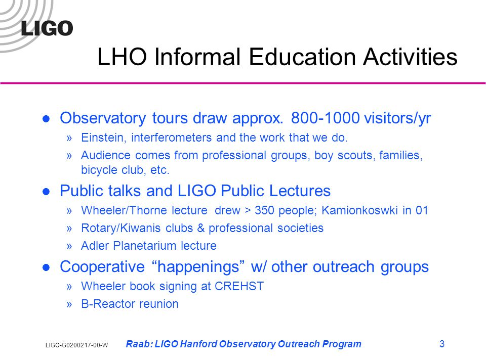 LIGO-G0200217-00-W Raab: LIGO Hanford Observatory Outreach Program4 LHO K-12 Outreach LIGO-SST involves 2 HS teachers, 6 students in summer w/ ~30 students during academic year The Scientific Method on the Job video developed as Middle/High School science resource Distance learning initiative with ESD 123 to develop interactive science programming for WA K-20 teleconferencing network Kamiakin High School interns investigate seismic effects of gravel mining near Yakima River in Richland, WA
