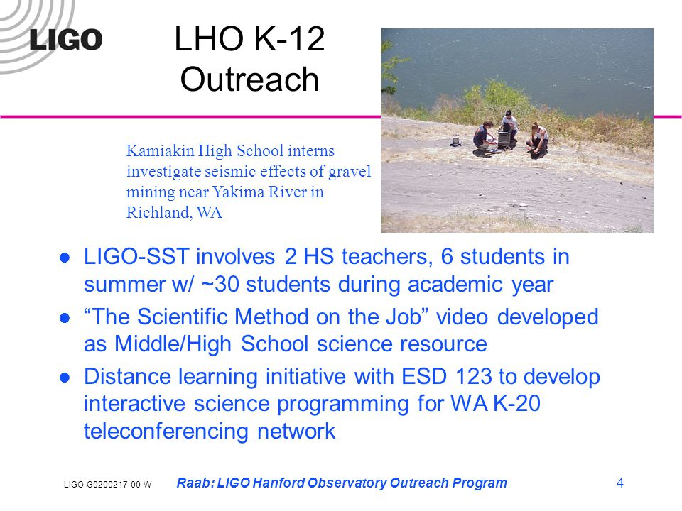 LIGO-G0200217-00-W Raab: LIGO Hanford Observatory Outreach Program15 Summarizing… What works at LIGO: »Our track record during early operations got rave reviews by NSF visiting committee and regularly features in NSF reporting »Extremely successful REU program ~20 students/year »Popular informal education tours of facilities (1000's visitors) »Successful pilot project to embed LIGO research into high school science curriculum: ~30+ students/yr in 9 th -12 th grade at Gladstone High School, OR »In-service teacher training and internships »Good coupling with local school districts, other science outreach efforts »Public Lecture Series a hit »Ground work to develop resources for science centers associated with observatories