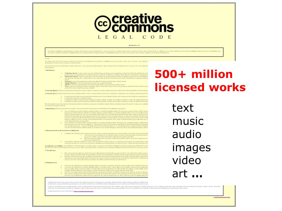 500+ million licensed works text music audio images video art …