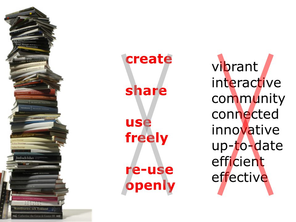 create share use freely re-use openly vibrant interactive community connected innovative up-to-date efficient effective