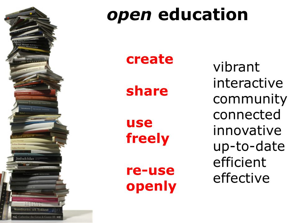 create share use freely re-use openly vibrant interactive community connected innovative up-to-date efficient effective open education