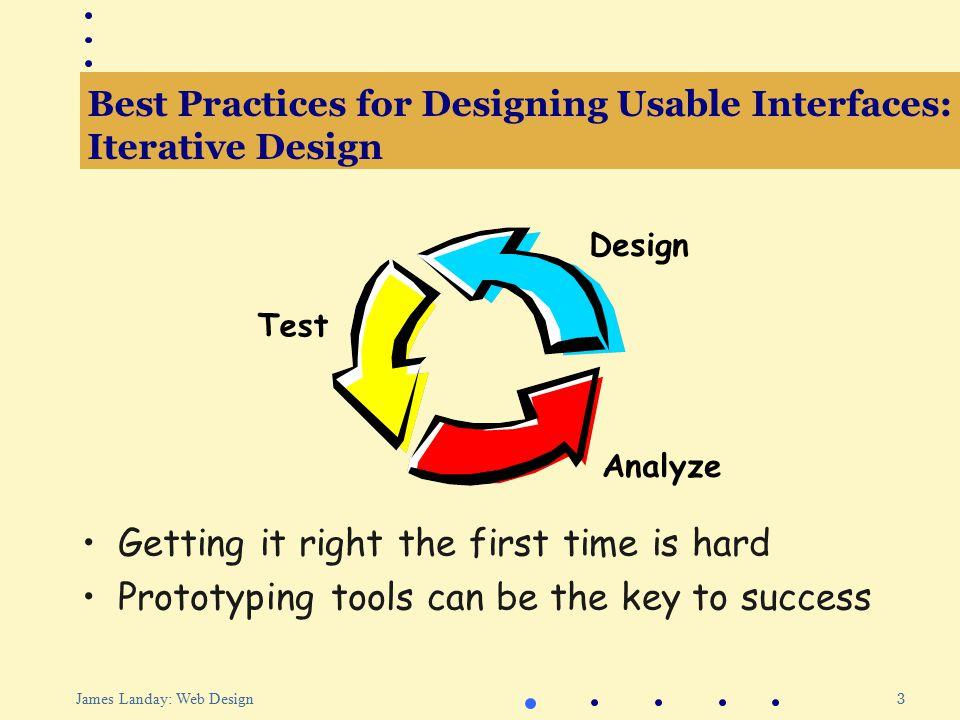 64 James Landay: Web Design Outline Best practices for designing usable interfaces Web site design practice Informal tools for Web site design Evaluating Web interfaces Patterns for Web design