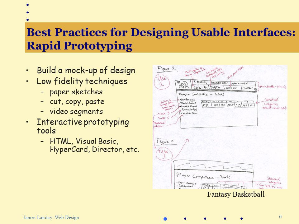 7 James Landay: Web Design Best Practices for Designing Usable Interfaces: Evaluation Test with real customers (participants) Build models Low-cost techniques –expert evaluation –walkthroughs