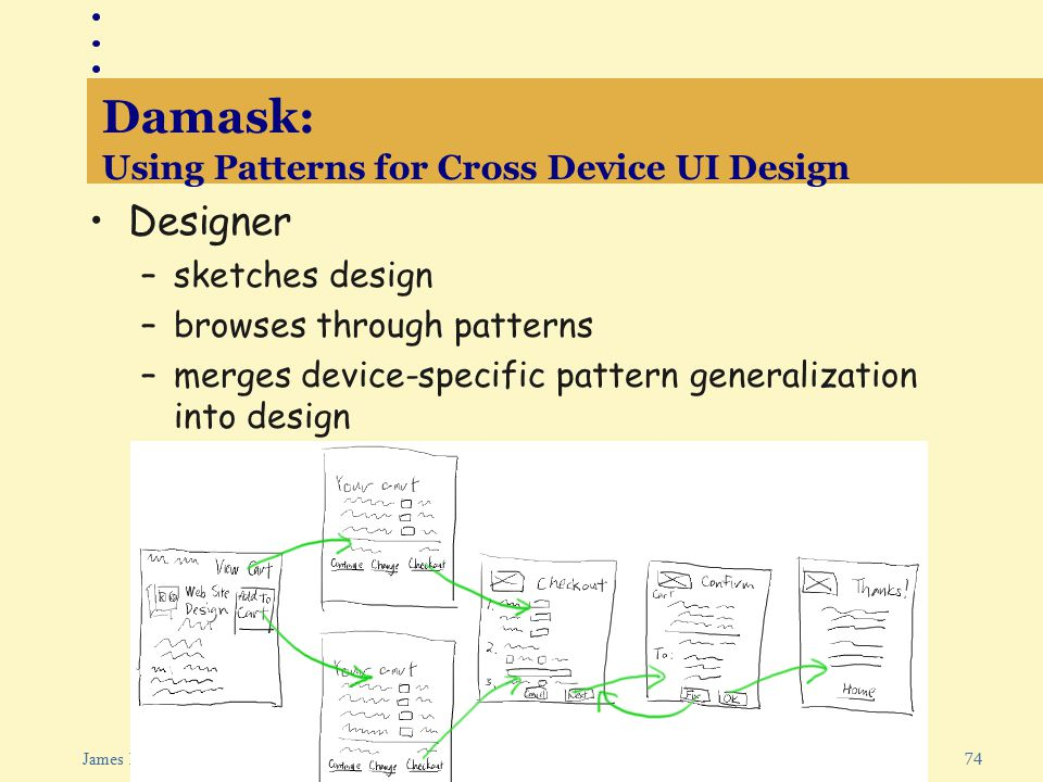 74 James Landay: Web Design Damask: Using Patterns for Cross Device UI Design Designer –sketches design –browses through patterns –merges device-specific pattern generalization into design