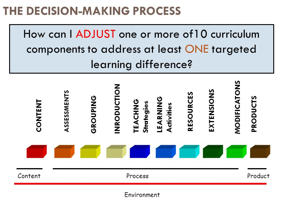THE DECISION-MAKING PROCESS How can I ADJUST one or more of10 curriculum components to address at least ONE targeted learning difference.