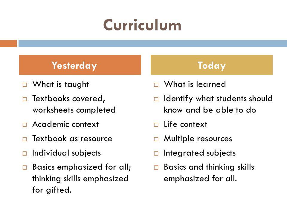 Curriculum  What is taught  Textbooks covered, worksheets completed  Academic context  Textbook as resource  Individual subjects  Basics emphasized for all; thinking skills emphasized for gifted.