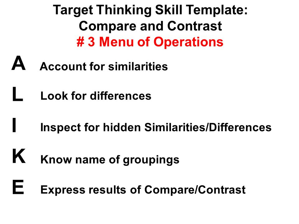 Target Thinking Skill Template: Compare and Contrast # 3 Menu of Operations ALIKEALIKE Account for similarities Look for differences Inspect for hidden Similarities/Differences Know name of groupings Express results of Compare/Contrast