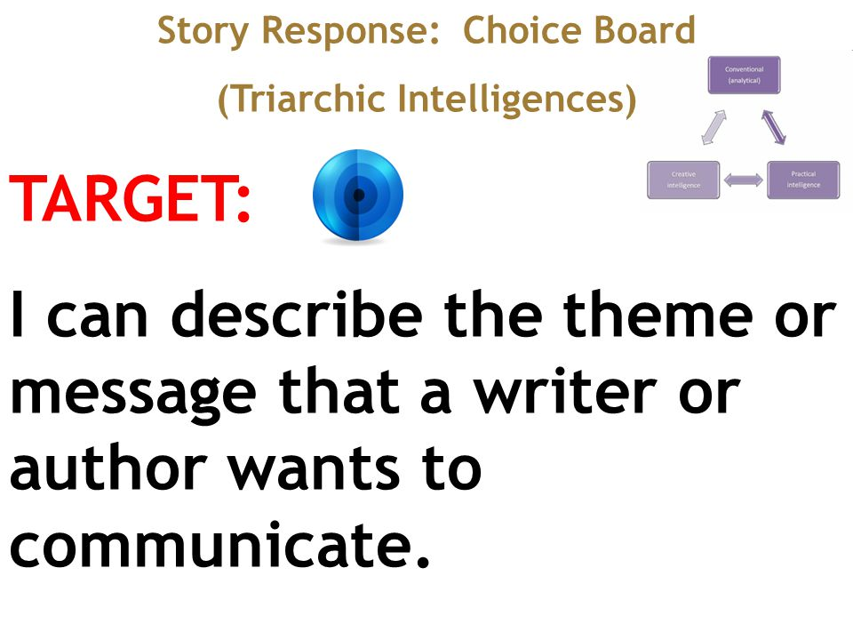 Story Response: Choice Board (Triarchic Intelligences) TARGET: I can describe the theme or message that a writer or author wants to communicate.