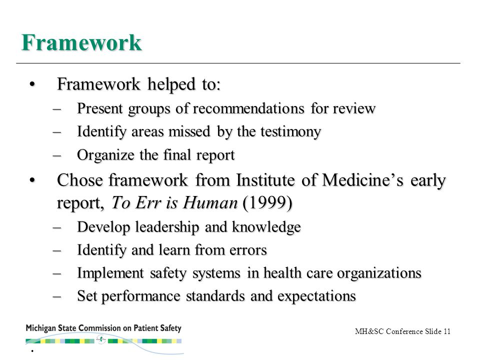 MH&SC Conference Slide 11 Framework helped to:Framework helped to: –Present groups of recommendations for review –Identify areas missed by the testimony –Organize the final report Chose framework from Institute of Medicine's early report, To Err is Human (1999)Chose framework from Institute of Medicine's early report, To Err is Human (1999) –Develop leadership and knowledge –Identify and learn from errors –Implement safety systems in health care organizations –Set performance standards and expectations Framework