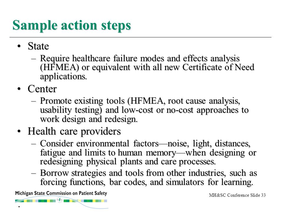 MH&SC Conference Slide 33 StateState –Require healthcare failure modes and effects analysis (HFMEA) or equivalent with all new Certificate of Need applications.