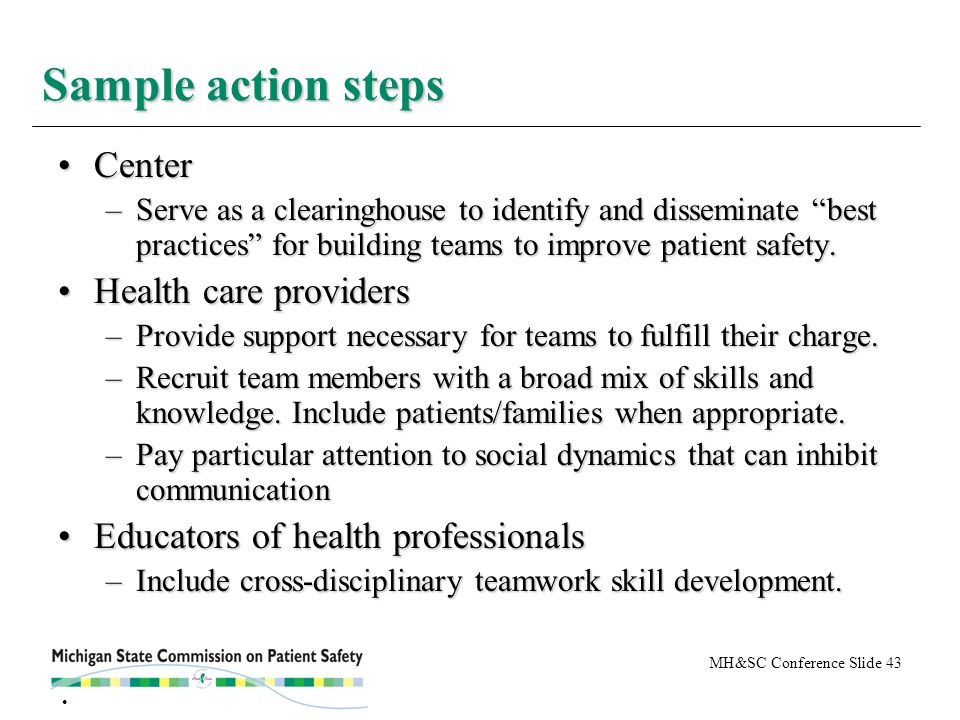 MH&SC Conference Slide 43 CenterCenter –Serve as a clearinghouse to identify and disseminate best practices for building teams to improve patient safety.