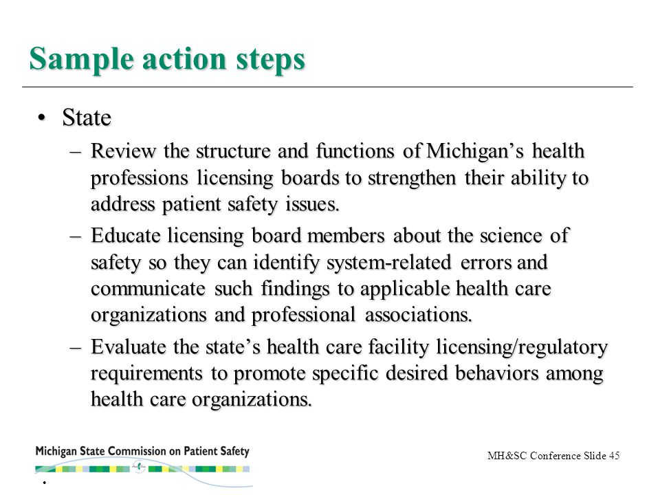MH&SC Conference Slide 45 StateState –Review the structure and functions of Michigan's health professions licensing boards to strengthen their ability