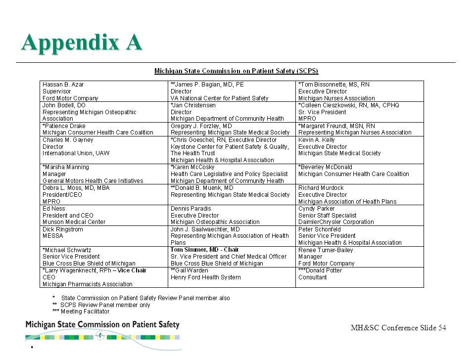 MH&SC Conference Slide 54 Appendix A