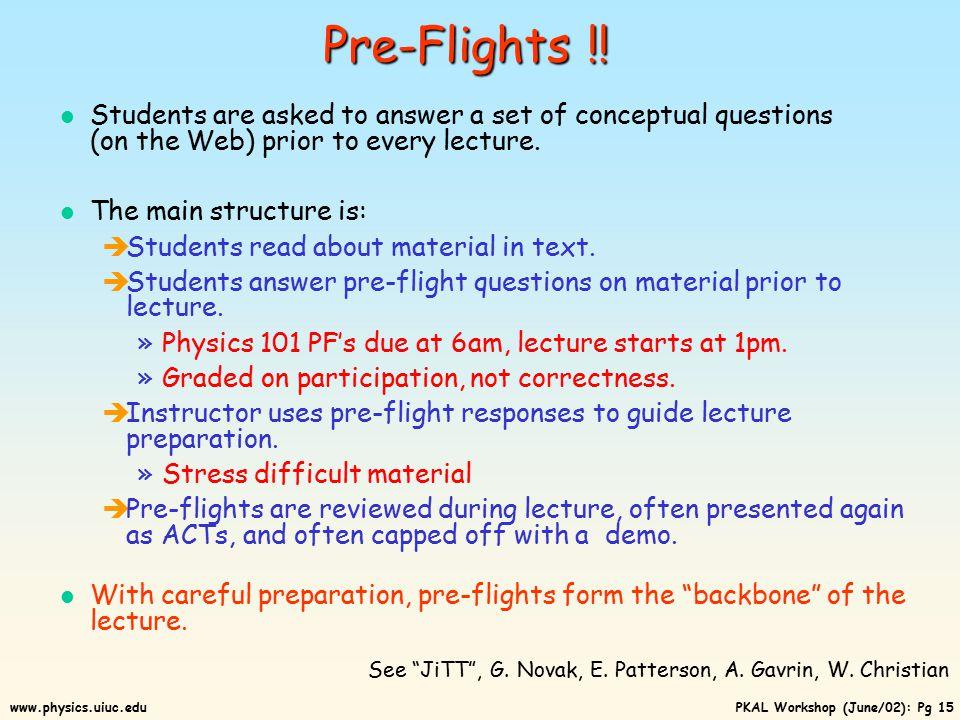 PKAL Workshop (June/02): Pg 14www.physics.uiuc.edu 4lbs (a) (b) (c) (a) 0 lbs.