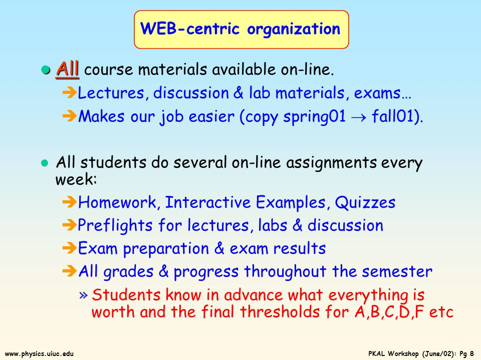 PKAL Workshop (June/02): Pg 7www.physics.uiuc.edu Some Key Aspects WEB-centric organization Peer instruction in Discussion & Lab sections ACTs & Preflights in Lecture Homework & Interactive Examples Exams Makes life much easier for us The key to the whole thing is faculty buy-in.