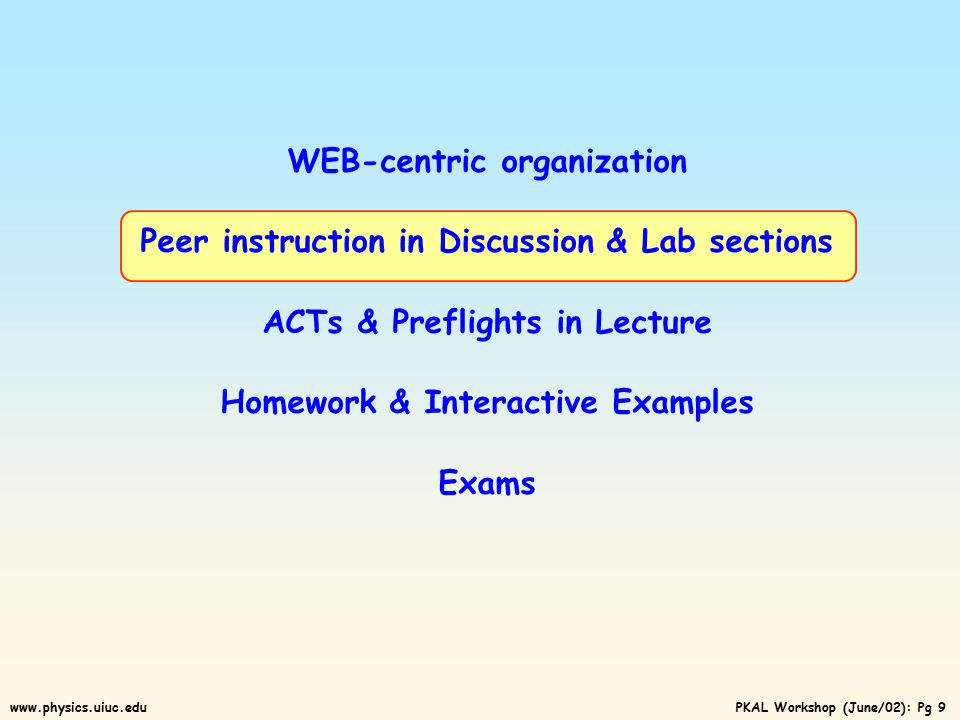 PKAL Workshop (June/02): Pg 19www.physics.uiuc.edu Details of some key components: WEB-centric organization Peer instruction in Discussion & Lab sections ACTs & Preflights in Lecture Homework & Interactive Examples Exams