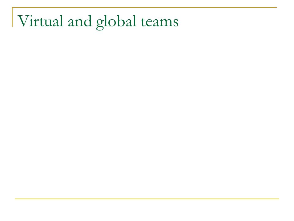 Creating global teams Size Effectiveness Belbin® team roles Contextual variables Best practices