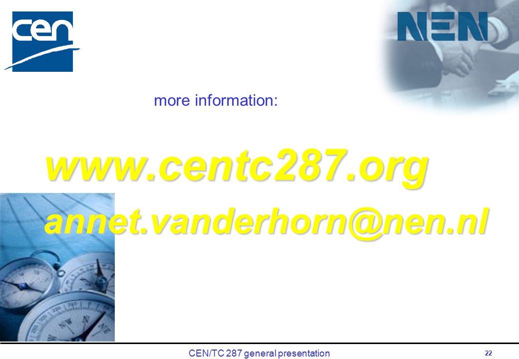 CEN/TC 287 general presentation 22 www.centc287.organnet.vanderhorn@nen.nl more information: