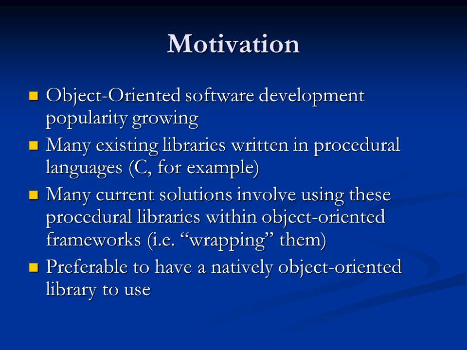 Motivation Object-Oriented software development popularity growing Object-Oriented software development popularity growing Many existing libraries wri